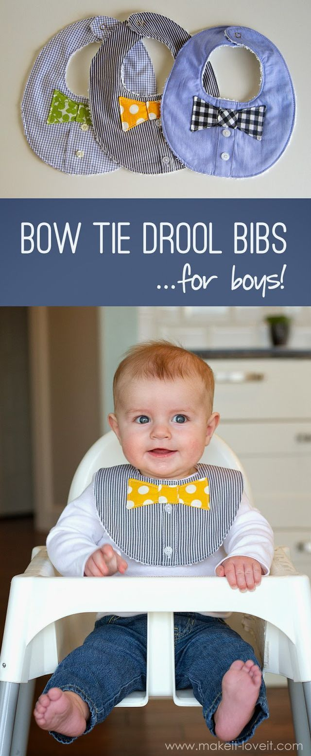 Sewing Boys Bibs tutorial What a great idea to upcycle a grown men's shirt and make some adorable baby bibs for the yound men. Download the free sewing tutorial to make these handsome Drool Bibs for t