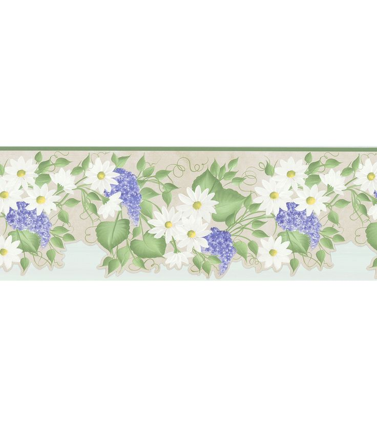 Daisy & Hydrangea Trail Wallpaper Border, Green Floral