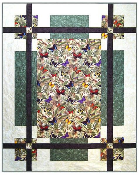 """The main print in this pattern could be a medium to large scale print or your favorite fabricpanel. Fast and easy to make,this is a great pattern to use if you want to feature a special fabric. Finished Sizes: Twin - 66"""" x 87""""Lap - 55"""" x 70""""Crib - 44"""" x 56"""""""