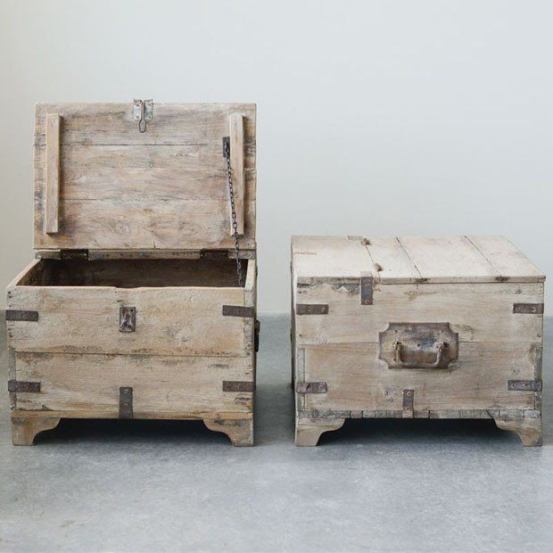 Reclaimed Wood And Metal Storage Trunk Set Of 2 Storage Trunk Wooden Trunks At Home Furniture Store #storage #trunks #for #living #room