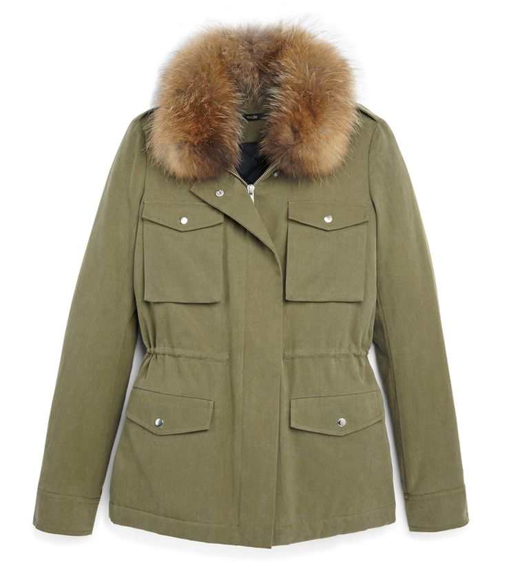 The Exclusive Maje Boutique at #ShopBAZAAR – Maje Dunkerque Army Green Parka Jacket with Fur Collar