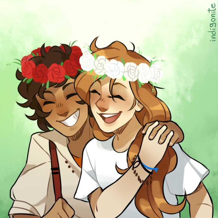 Calypso laughed loudly as Leo placed a handband of white roses on her head, and Leo having red roses. Leo grinned sheepishly, wrapping an arm around his girlfriend, and Calypso holding his hand.