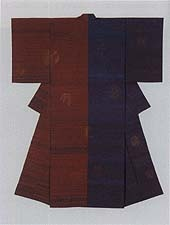 'Revolution,' tsumugi weave of blue and dark reds in halves // SHIMURA Fukumi 1991