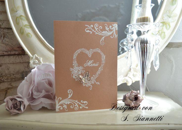 Einladungskarten   Menükarte Shabby Chic Vintage Hochzeit 3d   Ein  Designerstücku2026