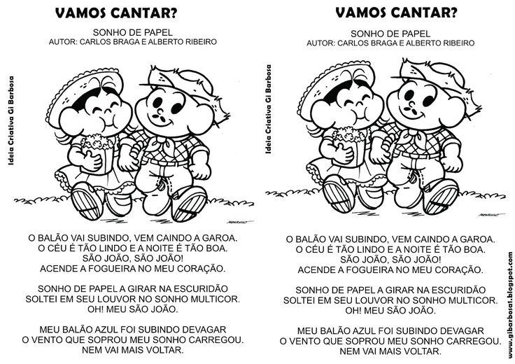 Músicas Ilustradas Festas Juninas para Colorir   Ideia Criativa - Gi Barbosa Educação Infantil