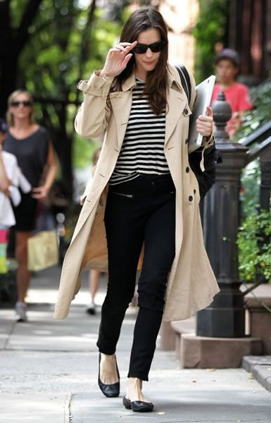 Weekend: Trench, Striped Shirt, Slack Cropped Skinnies, Black Flats, Sunglasses, Big Black Bag, Hair Down