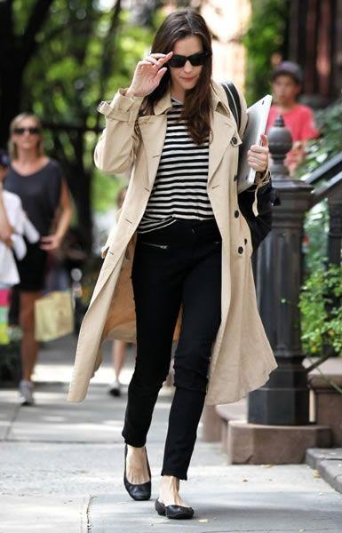 Weekend: Trench, Striped Shirt, Slack Cropped Skinnies, Black Flats, Sunglasses, Big Black Bag, Hair Down