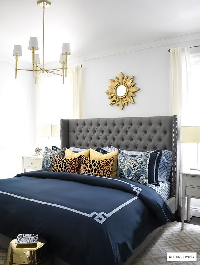 Shop My Bedroom Citrineliving Grey And Gold Bedroom Blue And Gold Bedroom Gold Bedroom