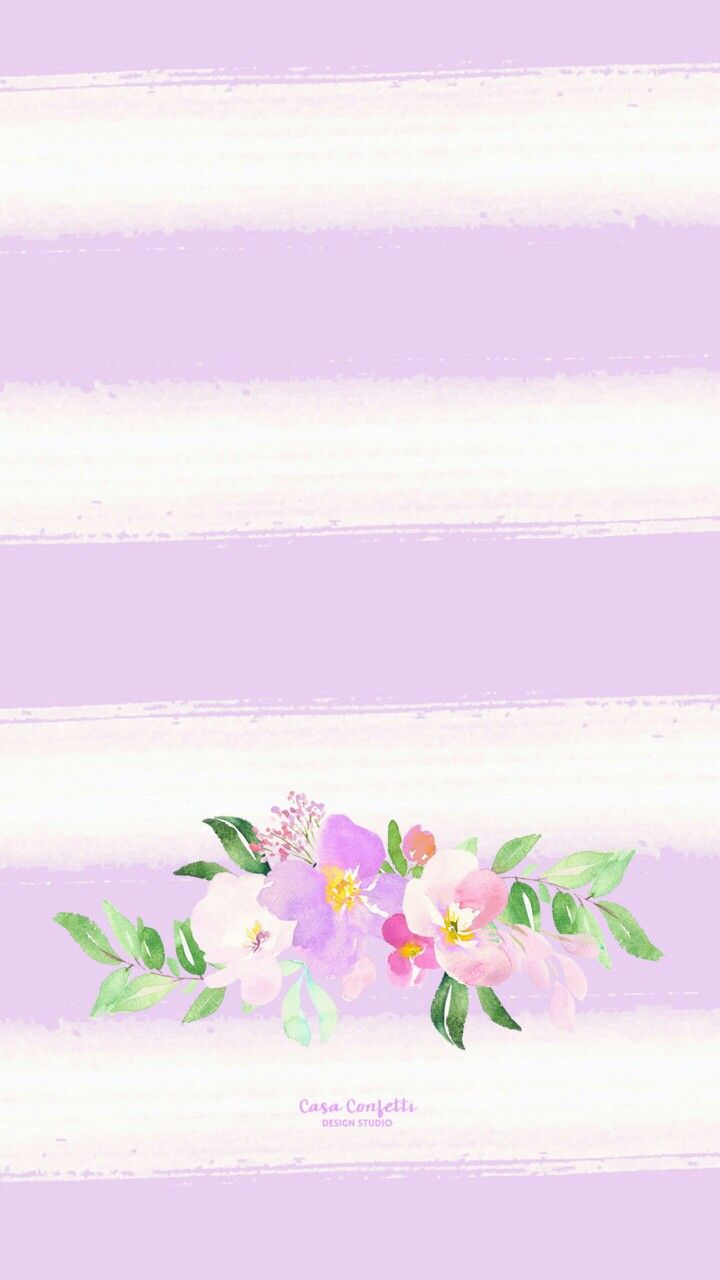 Simple purple and white background with floral pattern on the bottom. Adorable!!!!
