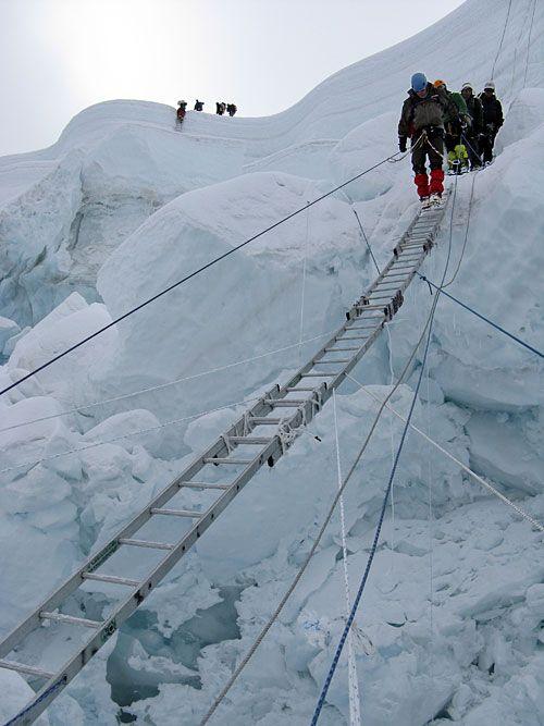 Khumbu Icefall - we use aluminium ladders to cross the crevasses