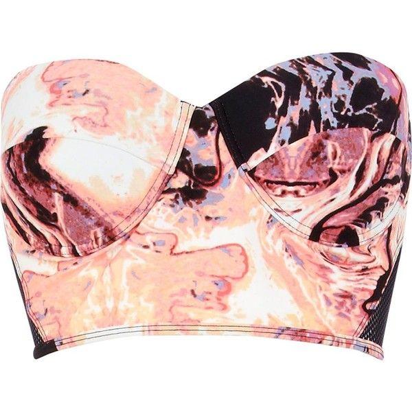 River Island Pink marble print bustier bikini top ($10) ❤ liked on Polyvore featuring swimwear, bikinis, bikini tops, tops, bikini, shirts, halter neck bikini top, bikini swimwear, halter bikini and pink bikini
