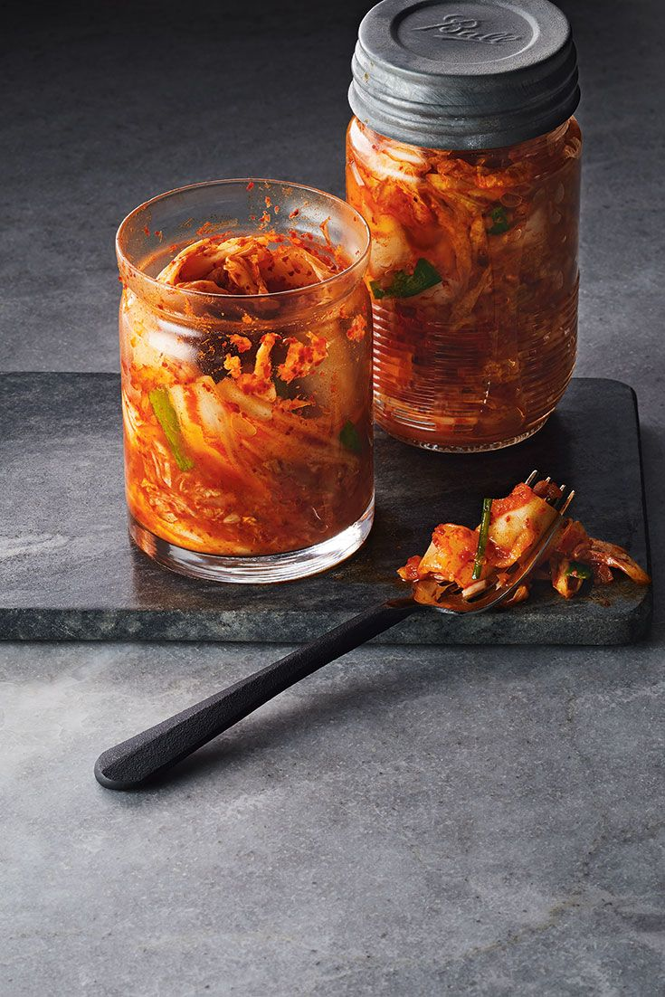A traditional fermented Korean side dish, kimchi is a sweet and spicy combination of sliced cabbage, other vegetables and seasonings. About a day after jarring the kimchi, you will begin to see bubbles in the liquid; this is a sign that the fermentation process is working.