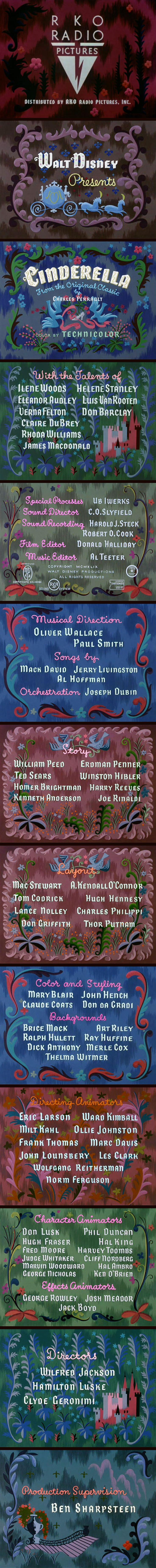 Walt Disney's Cinderella Title Credits by Mary Blair