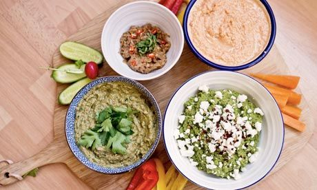 pea hummus, black-eyed bean and harissa dip,