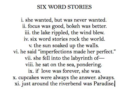 Six Word Stories - Cupcake Dictionary