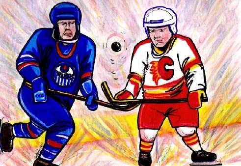 Rivals Edmonton Oilers and Calgary Flames cartoon by Suzanne-Berton watercolour