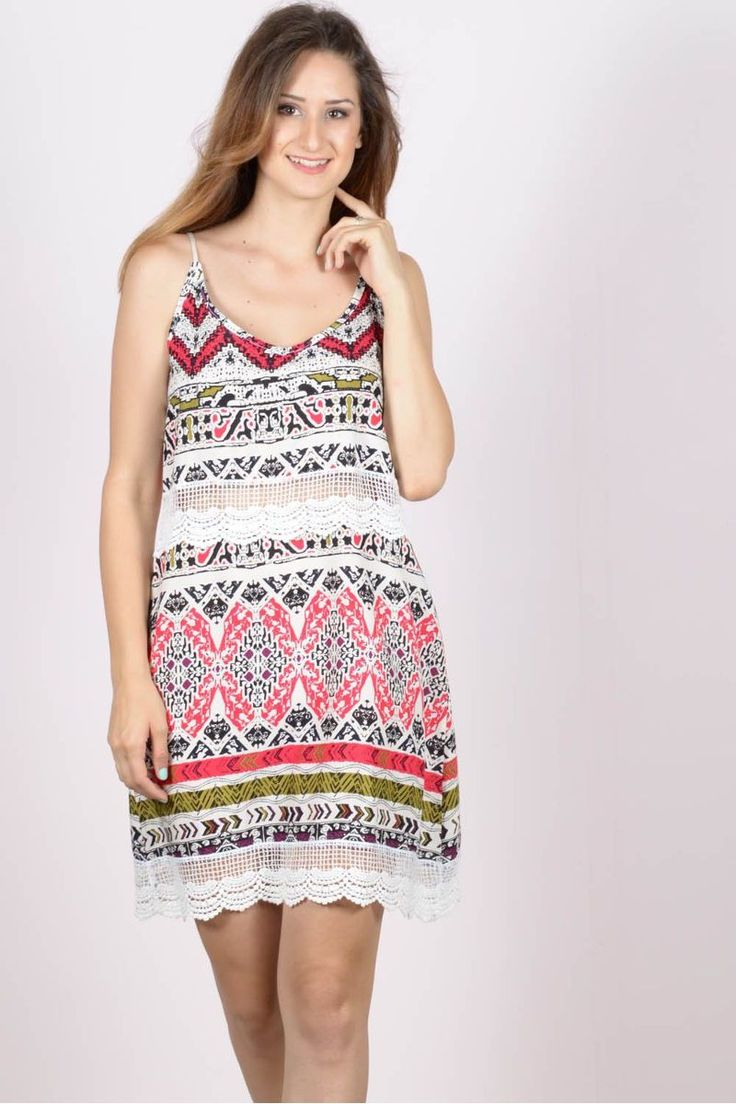 Εμπριμέ μίνι φόρεμα με δαντέλα eXXes.Ύψος μοντέλου: 1,78m100% Viscose