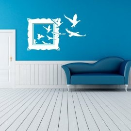 Vinyl Wall Art Birds Escaping Picture Frame