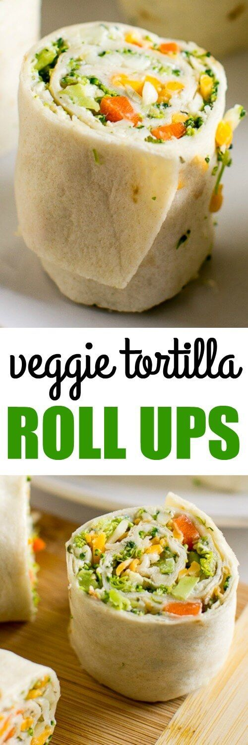 These are SO YUMMY! Vegetable Tortilla Roll Ups with cream cheese filling spread on tortillas, topped with veggies and cheese. Slice and serve. Just like veggie pizza!