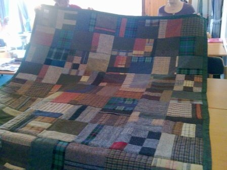 Quilt made by Irene Curren for her son using Harris tweed and tartans