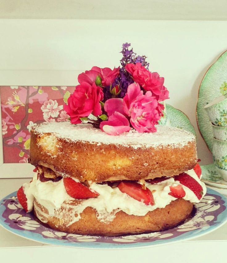 Summer fresh cream and strawberry cake decorated with roses! Not so nutritious sorry!