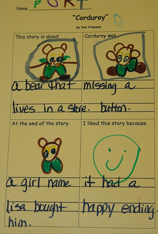 Corduroy activity sheet for higher learners in prek or beginning of year in k