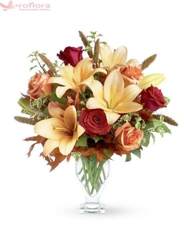Majesty - Buchet cu trandafiri si crini #fall #roses #lilies #