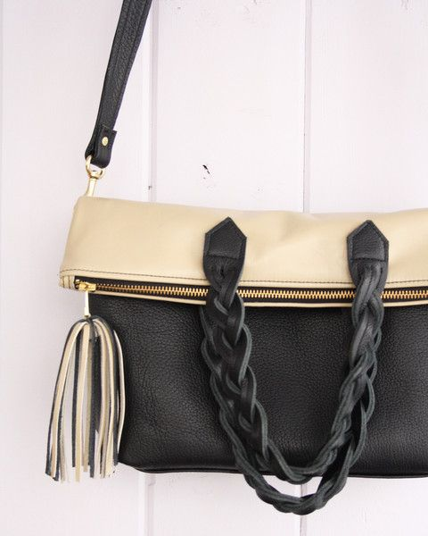 Convertible cross-body leather tote bag