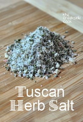 A quick and easy way to save some of summer's herbs - Tuscan Herb Salt. 2-3 large garlic cloves, 1/4 cup coarse salt, 2 cups fresh herbs of any combination. Will stay fresh for several months. Complete instructions & use guide at the site. Bon appetite!