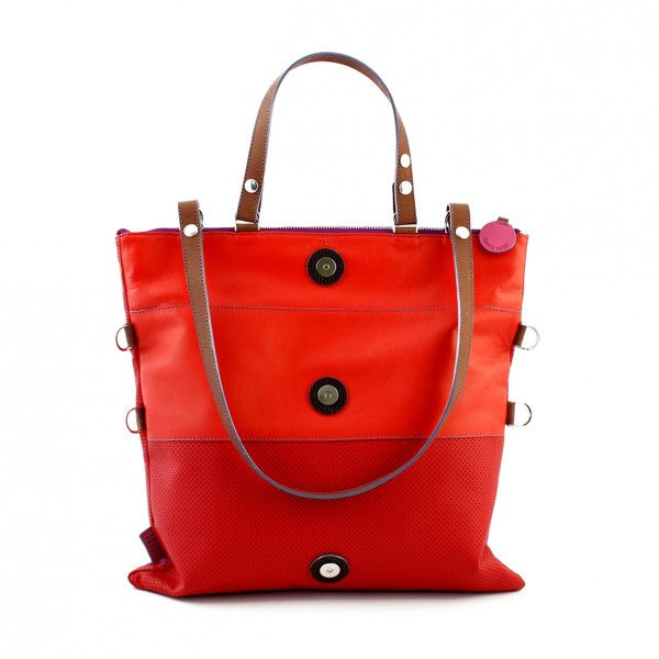 Lengyel Zsuzsi Square Leather Bag - Red, Pink ❤ liked on Polyvore