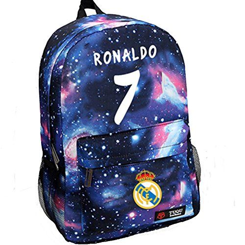Real Madrid Cristiano Ronaldo 7 Bag Casual Laptop Backpack Cosplay Schoolbag Sky Blue