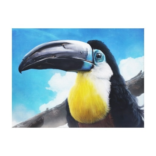 Toucan in Misty Air digital tropical bird painting canvas print