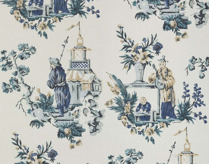 346 best chinoiserie images on pinterest - Papier peint toile de jouy ...