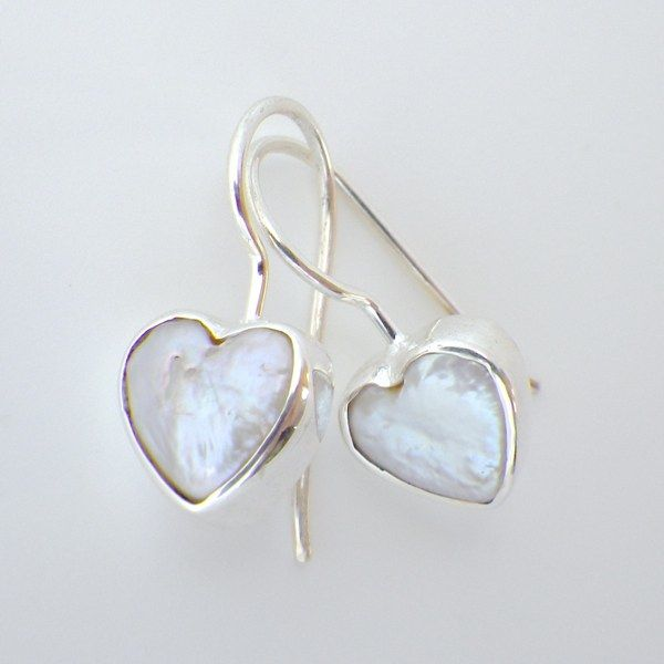 Valentines Jewellery; made in New Zealand.  Fresh Water Pearl Hearts, set in Sterling Silver.