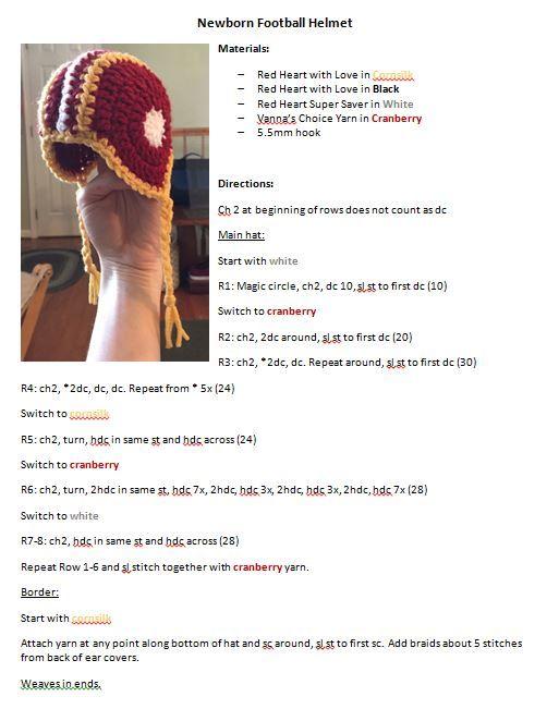 Crochet Newborn Football Helmet Hat