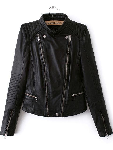 Black Long Sleeve Zipper PU Crop Jacket