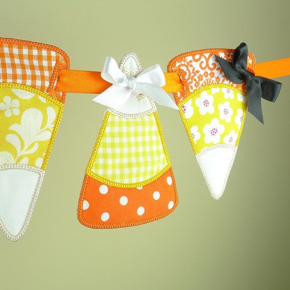 """Candy Corn Banner ITH Project Applique Machine Embroidery Design Patterns all done in the hoop in 5 sizes 4"""", 5"""", 6"""", 7"""" and 8"""""""