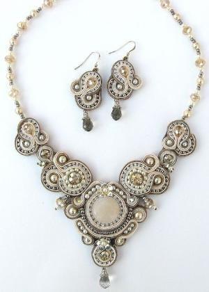 Fabuleux Crystal Regalia, earrings and necklace soutache technique by cora