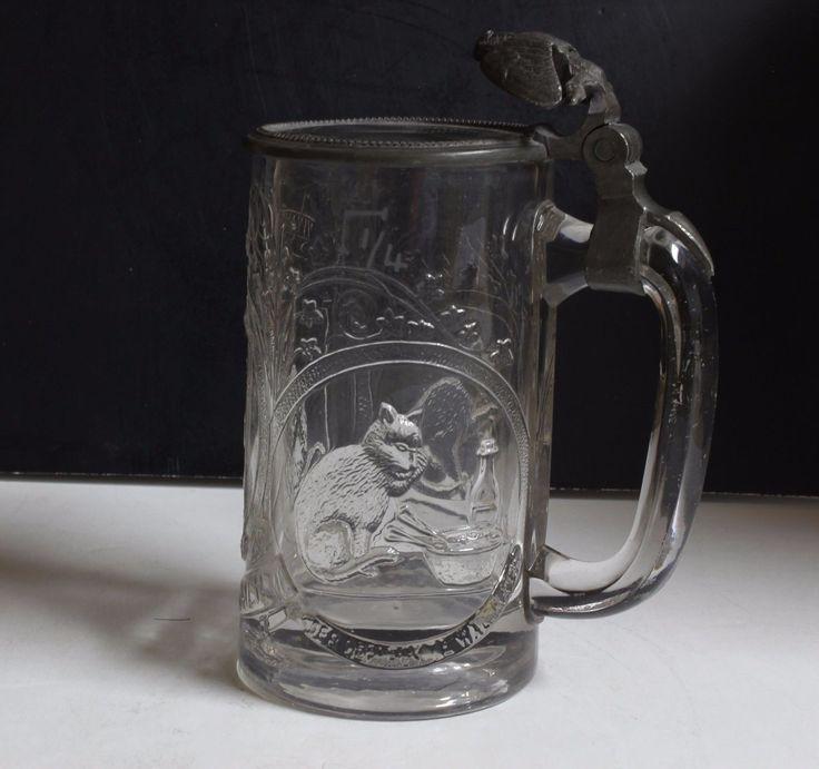 1800'S ANTIQUE GERMAN LIDDED MOLDED GLASS STEIN * .25 LITER * GERMANY | eBay