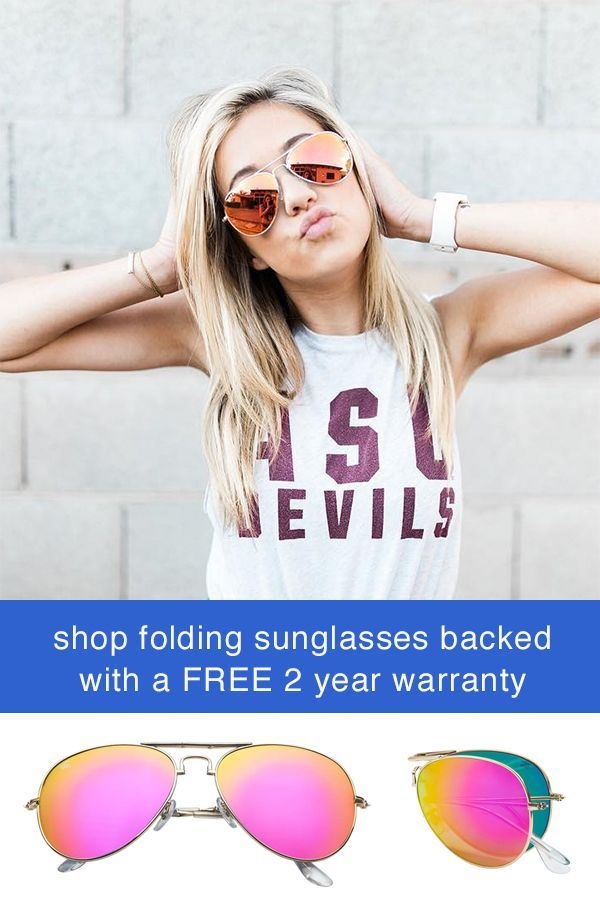 00a11290a Womens Pink Aviator Style Sunglasses by Foldies. Comes with a 2 Year  Warranty. Shop foldable sunglass styles including gold frame sunglasses,  polarized ...