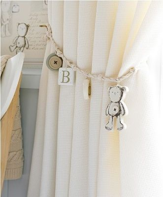 This tieback is perfect for a new borns room. There are so many typs of tiebacks this is just one example.