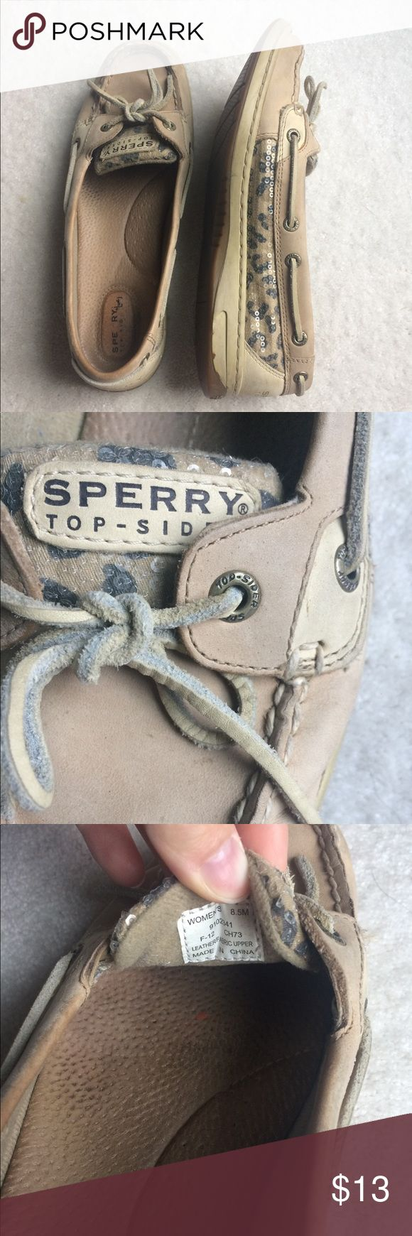 Tan Sparkly Leopard Sperry Boat Shoes Light tan. Leather boat shoes. Sparkles leopard print on sides. Small glue stains as shown in last picture. Used but lots of life left! Sperry Shoes Flats & Loafers