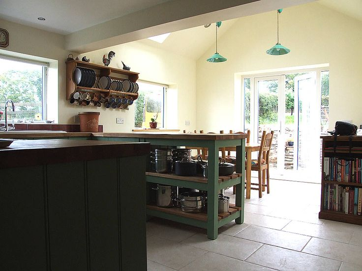 Shown here Hand-Painted in Farrow & Ball Breakfast Room Green this kitchen has an oiled butcher's block oak top fitted and incorporates a custom built oak-slatted potboard. See more here http://colinspicer.co.uk/painted-shaker-kitchens-wales #kitchen #kitchenrenovation #freestandingkitchens #paintedshakerkitchen #paintedshakercabinets #paintedkitchens #bespokekitchens #oakworktops #farrowandball #wales