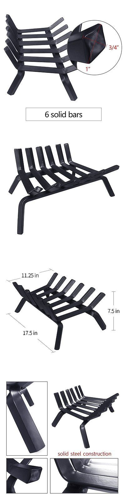 Andirons Grates and Firedogs 79648: Black Wrought Iron Fireplace Log Grate 18 Inch Wide Heavy Duty Solid Steel - New -> BUY IT NOW ONLY: $70.64 on eBay!
