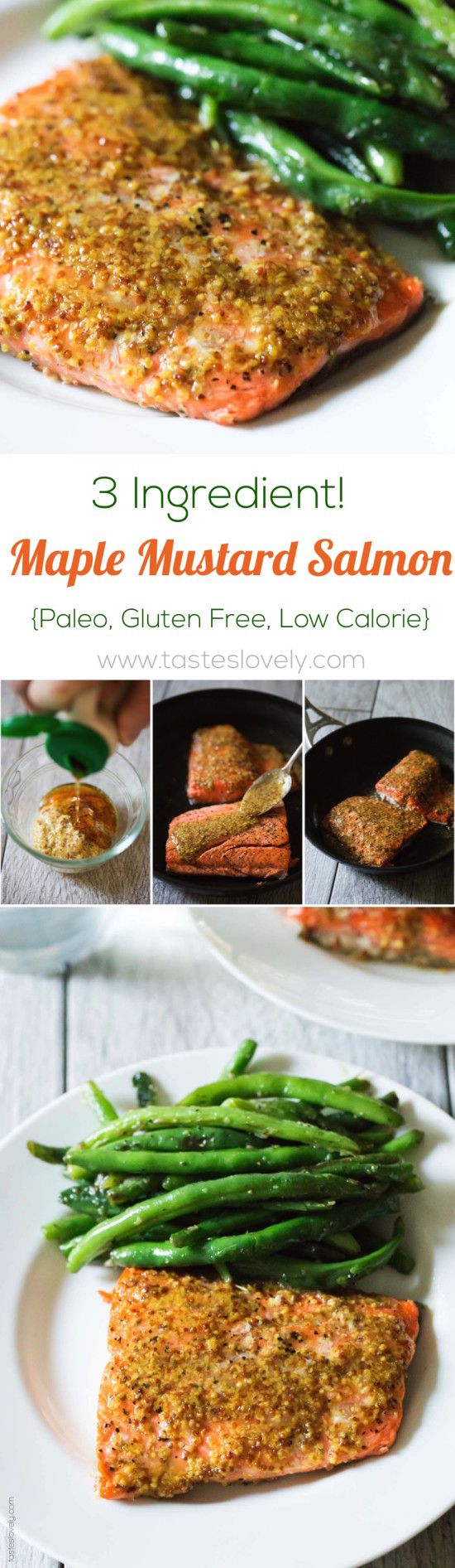Healthy Maple Mustard Glazed Salmon recipe - just 3 ingredients and 20 minutes! (paleo, gluten free, dairy free, skinny, low calorie)