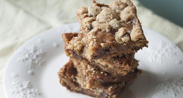 Peanut Butter Salted Caramel Chocolate Chip Cookie Bars-Whew! If you endured just reading the name of this recipe, you deserve a cookie! In our family, we have nicknamed this dessert 'Fat Daddy Bars' because they are very much NOT Trim Healt…