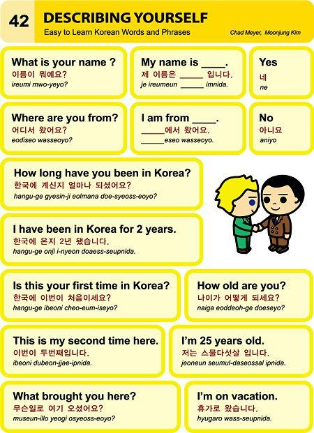 Korean language: Describing yourself @Silvia Del Barrio Gorines Del Barrio Gorines Willis                                                                                                                                                                                 Más