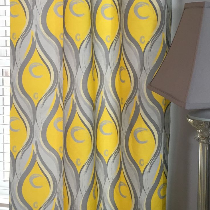Yellow and Grey Flat Curtain! Graphic Abstract Designed Peacock Feathers.