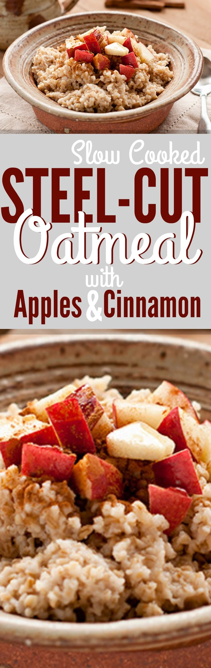 Slow Cooked Steel-Cut Oatmeal with Apples and Cinnamon - Crockpot Steel Cut Oats #steelcutoats #steelcutoatmeal #slowcookeroatmeal #crockpotoatmeal #oatmeal #applesandcinnamonsteelcutoats #applesandcinnamonoatmeal