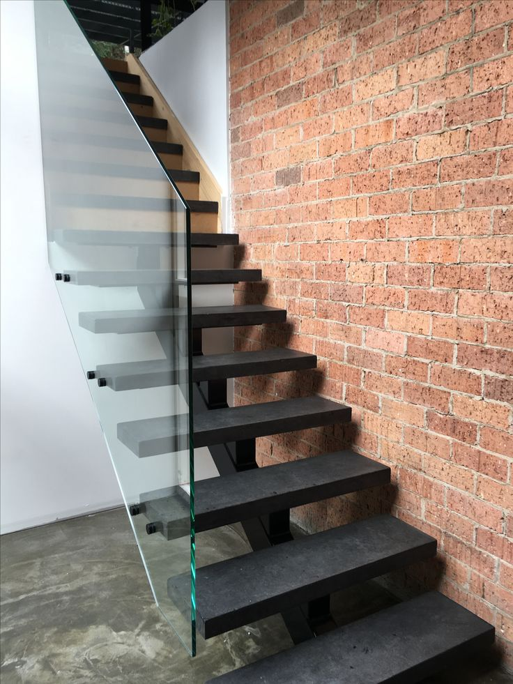 Black concrete stairs ... Glass